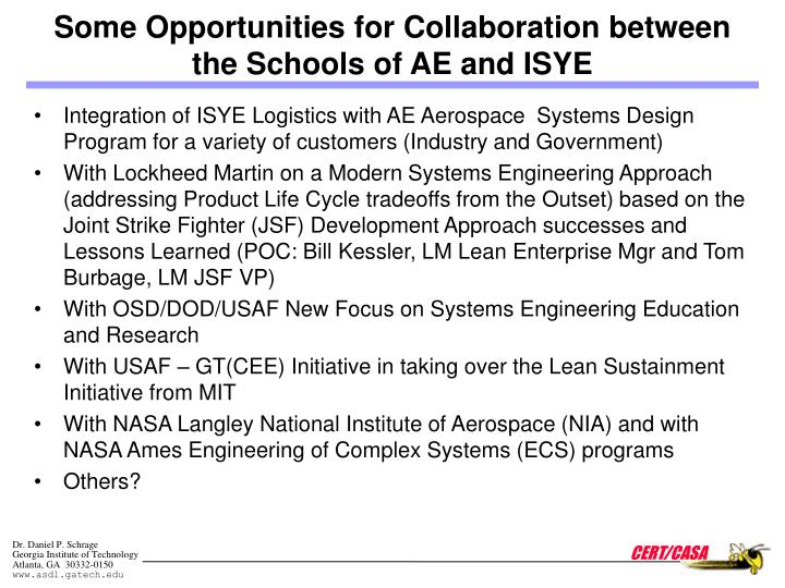 Some Opportunities for Collaboration between the Schools of AE and ISYE