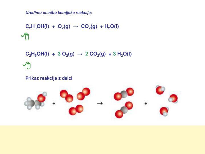 Uredimo enačbo kemijske reakcije: