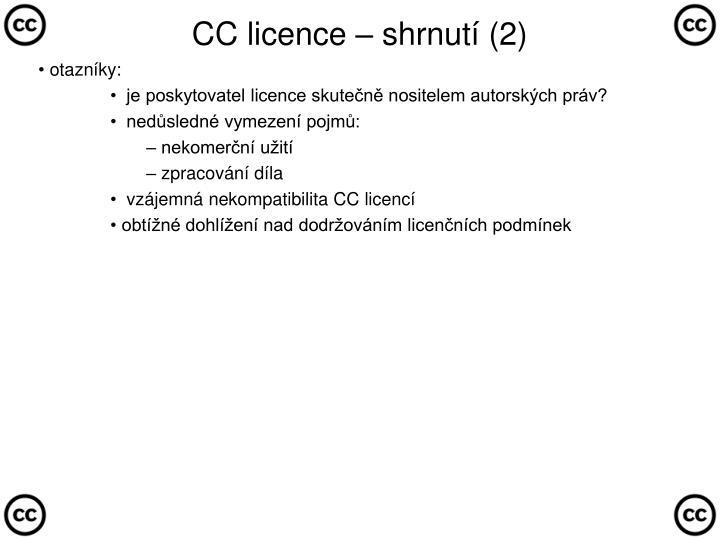 CC licence – shrnutí (2)
