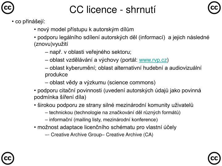 CC licence - shrnutí