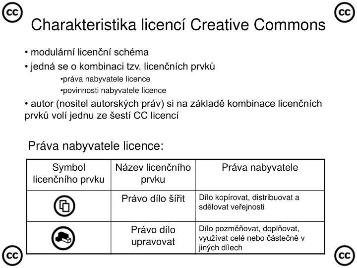 Charakteristika licencí Creative Commons