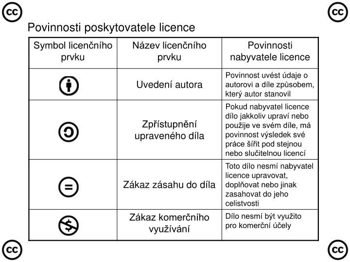 Povinnosti poskytovatele licence
