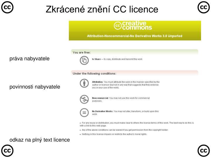 Zkrácené znění CC licence
