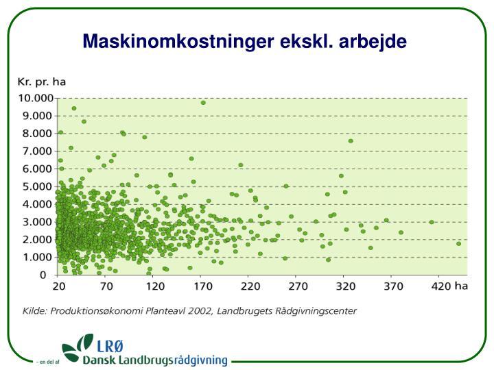 Maskinomkostninger ekskl. arbejde