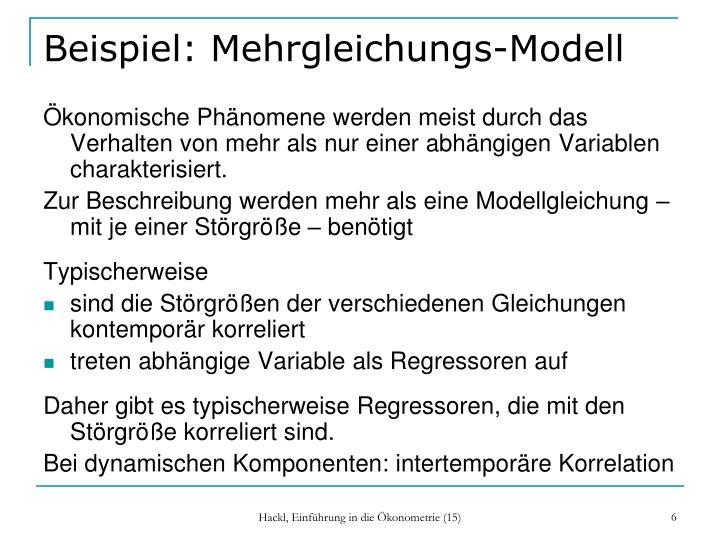 Beispiel: Mehrgleichungs-Modell
