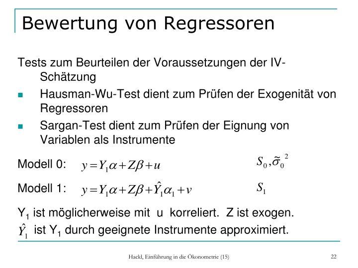 Bewertung von Regressoren