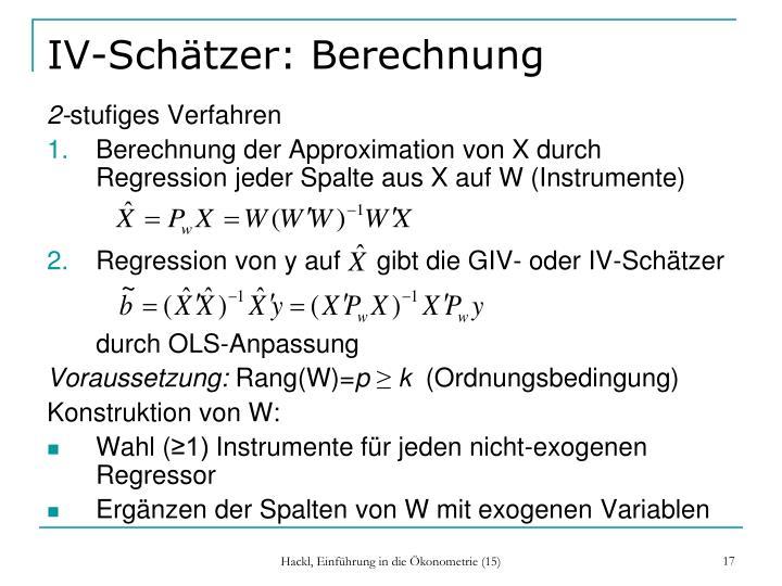 IV-Schätzer: Berechnung