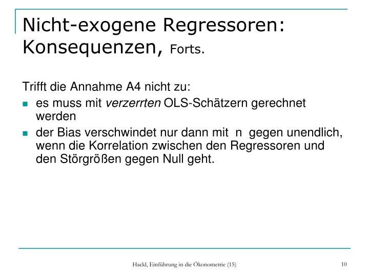 Nicht-exogene Regressoren: Konsequenzen,