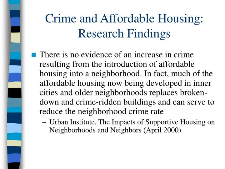 Crime and Affordable Housing: Research Findings