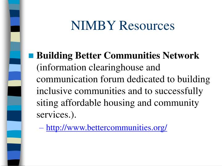 NIMBY Resources