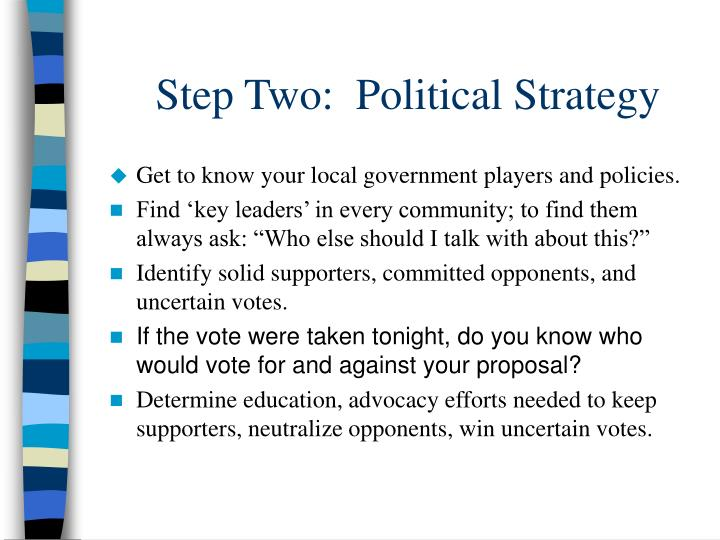 Step Two:  Political Strategy