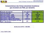 caracter sticas das firmas industriais brasileiras que investem em p d por tamanho