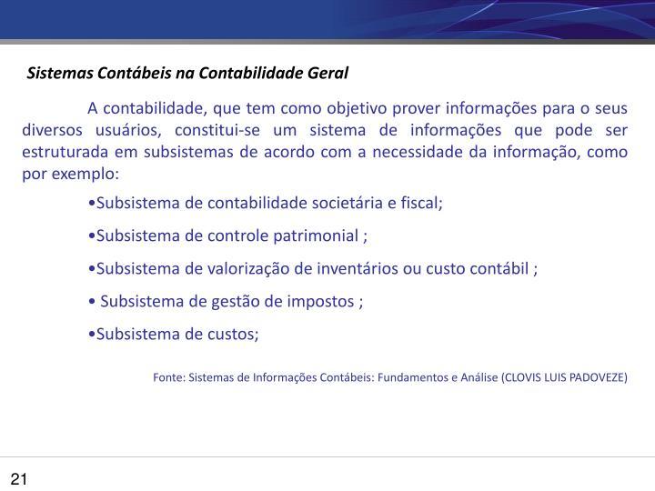 Sistemas Contábeis na Contabilidade Geral