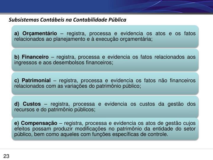 Subsistemas Contábeis na Contabilidade Pública