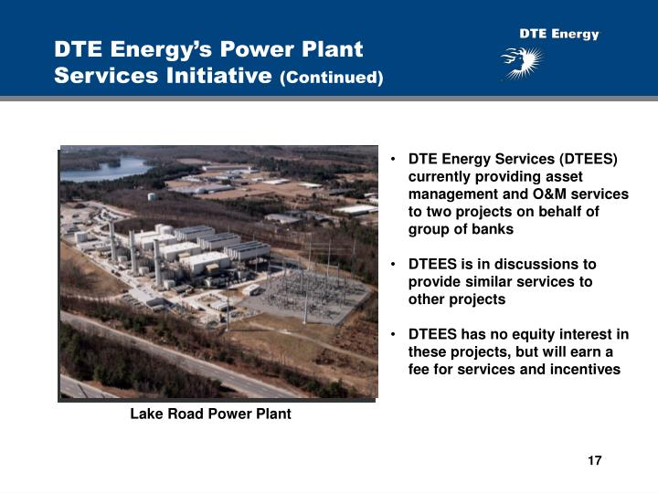 DTE Energy's Power Plant  Services Initiative