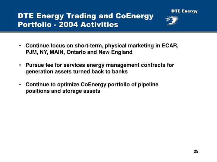 DTE Energy Trading and CoEnergy Portfolio - 2004 Activities