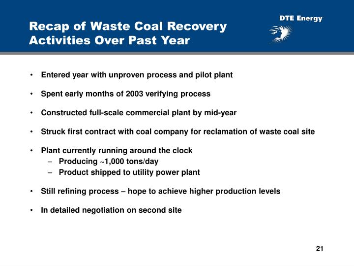 Recap of Waste Coal Recovery Activities Over Past Year