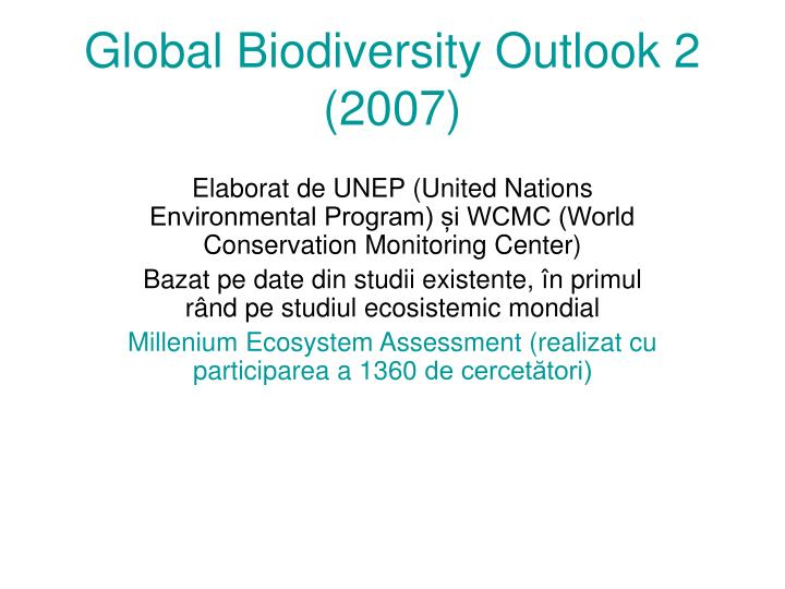 Global biodiversity outlook 2 2007