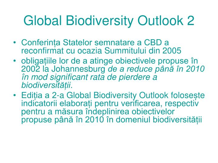 Global Biodiversity Outlook 2