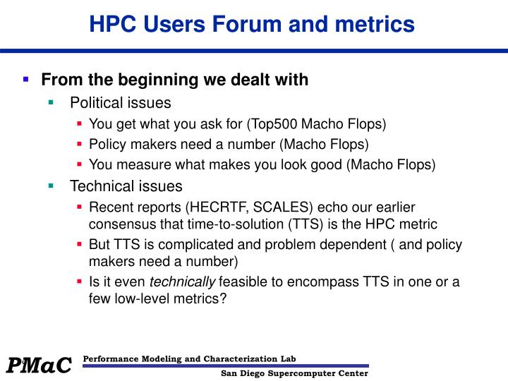 HPC Users Forum and metrics