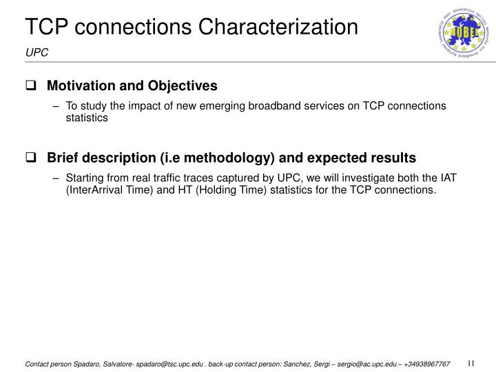 TCP connections Characterization