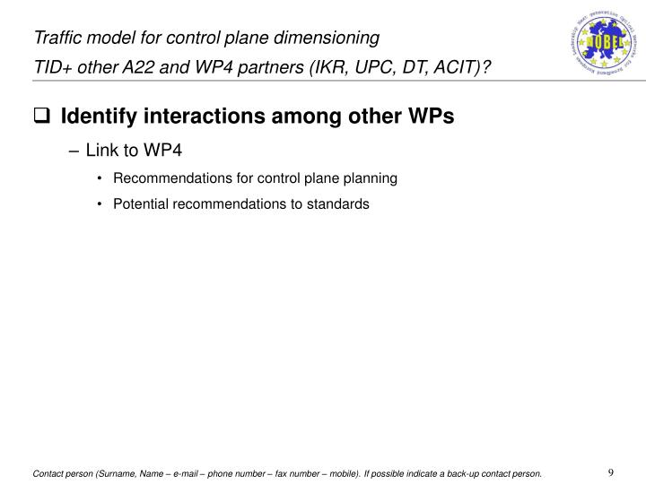 Traffic model for control plane dimensioning