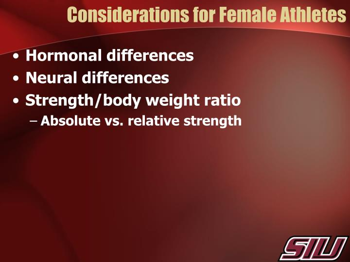 Considerations for Female Athletes