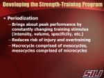developing the strength training program1