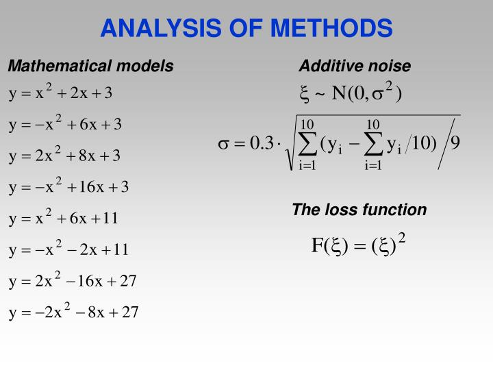 ANALYSIS OF METHODS