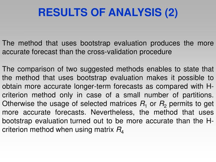 RESULTS OF ANALYSIS (2)