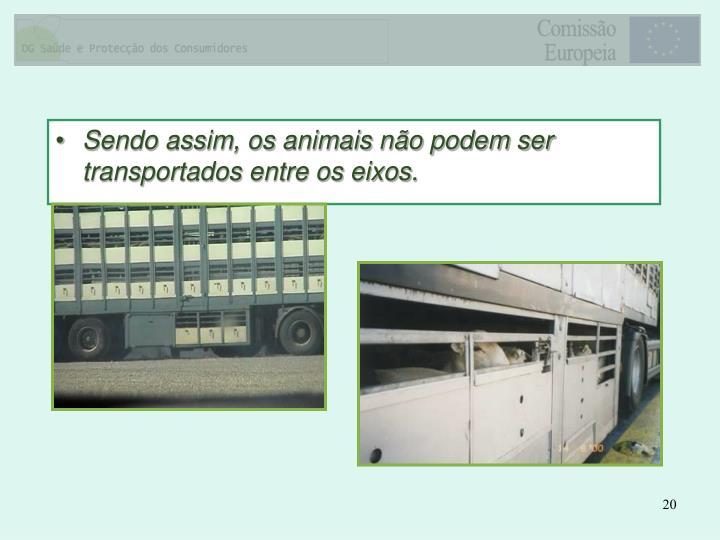 Sendo assim, os animais não podem ser transportados entre os eixos.