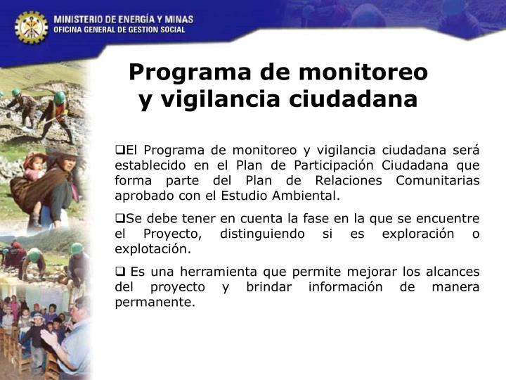 Programa de monitoreo y vigilancia ciudadana