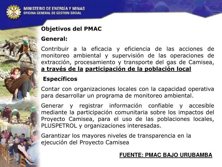 Objetivos del PMAC