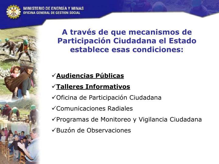 A través de que mecanismos de Participación Ciudadana el Estado establece esas condiciones: