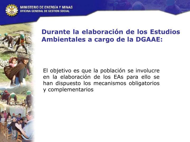 Durante la elaboración de los Estudios Ambientales a cargo de la DGAAE: