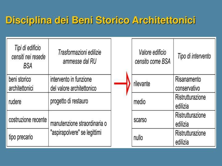 Disciplina dei Beni Storico Architettonici