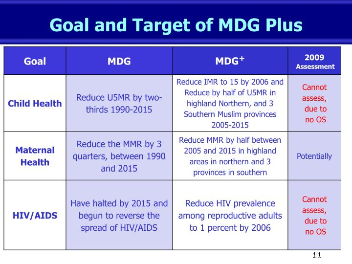 Goal and Target of MDG Plus