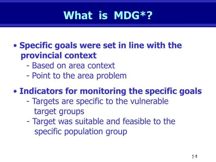 What  is  MDG*?