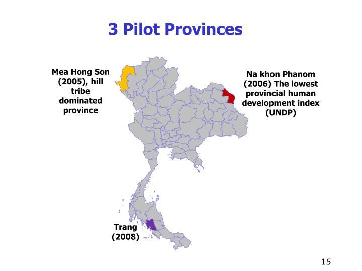3 Pilot Provinces