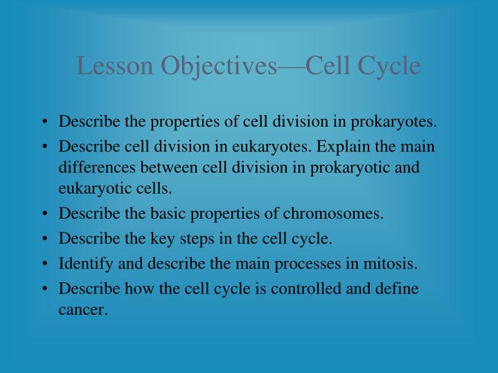 Lesson Objectives—Cell Cycle