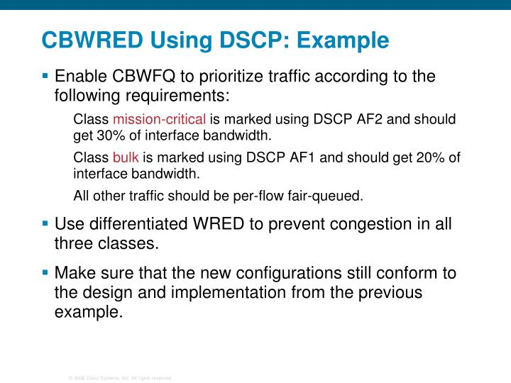 CBWRED Using DSCP: Example