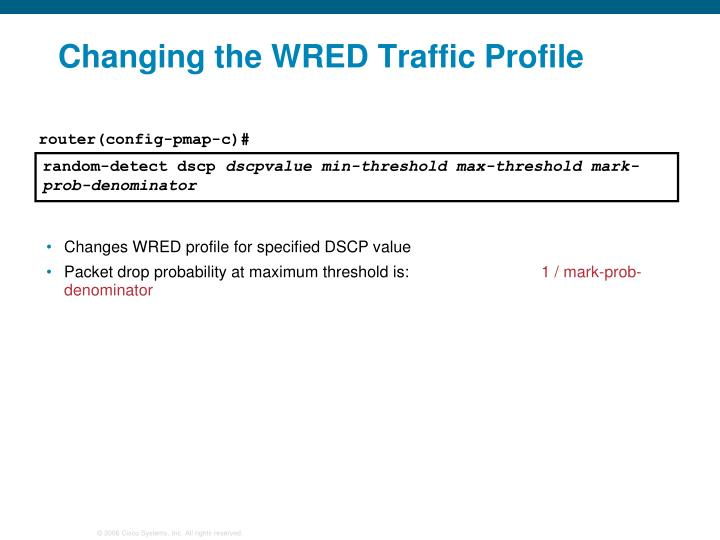 Changing the WRED Traffic Profile