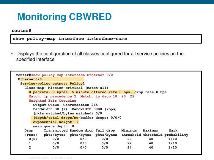 Monitoring CBWRED