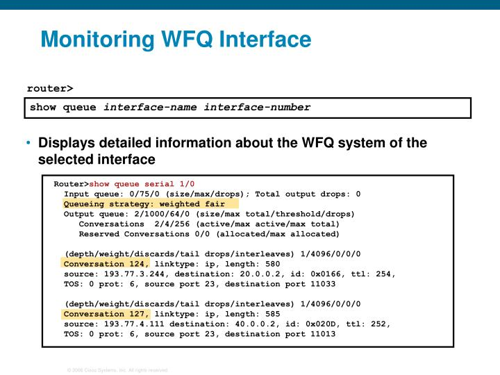 Monitoring WFQ Interface