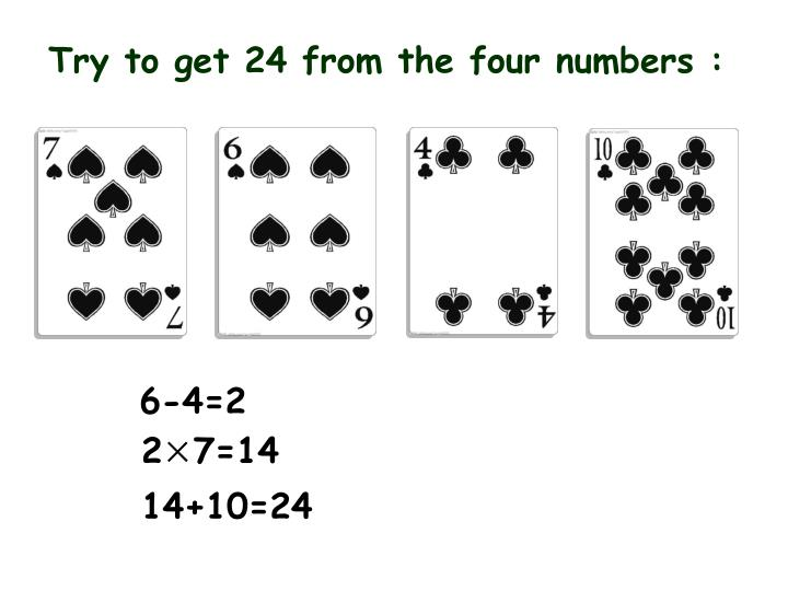Try to get 24 from the four numbers :