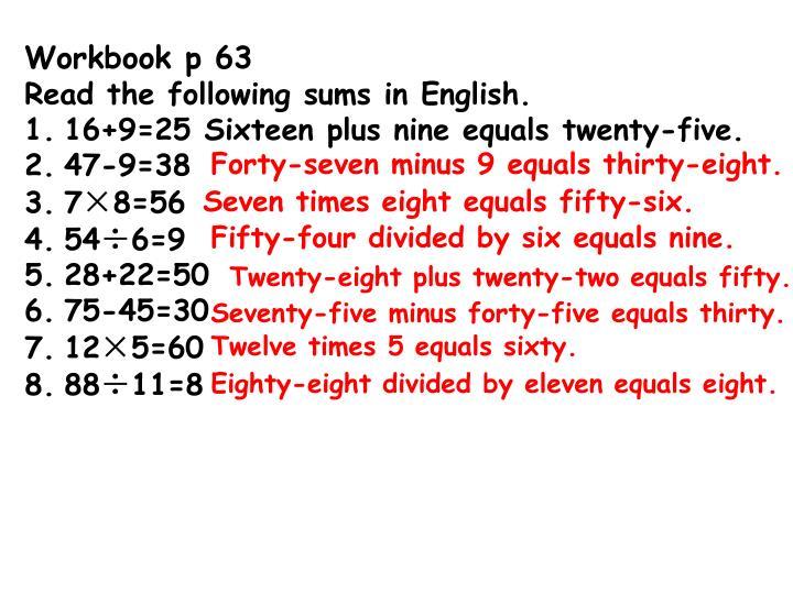 Workbook p 63