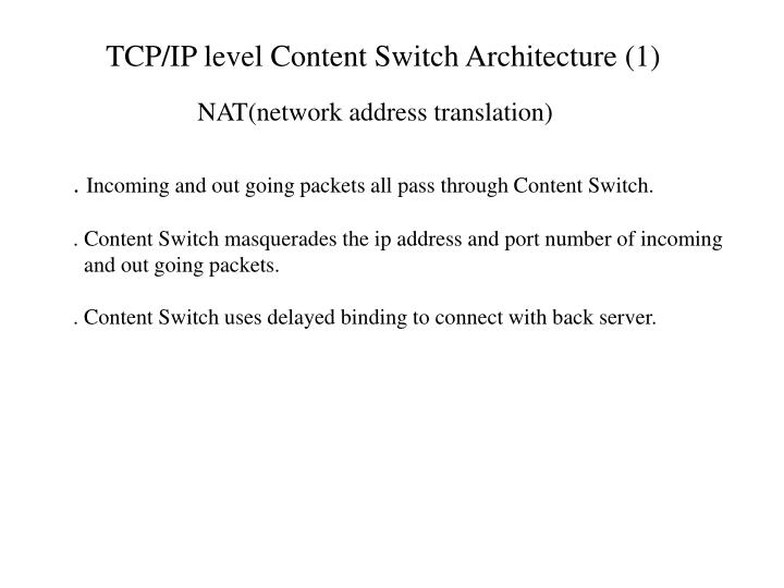 TCP/IP level Content Switch Architecture (1)