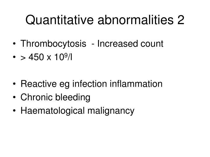 Quantitative abnormalities 2