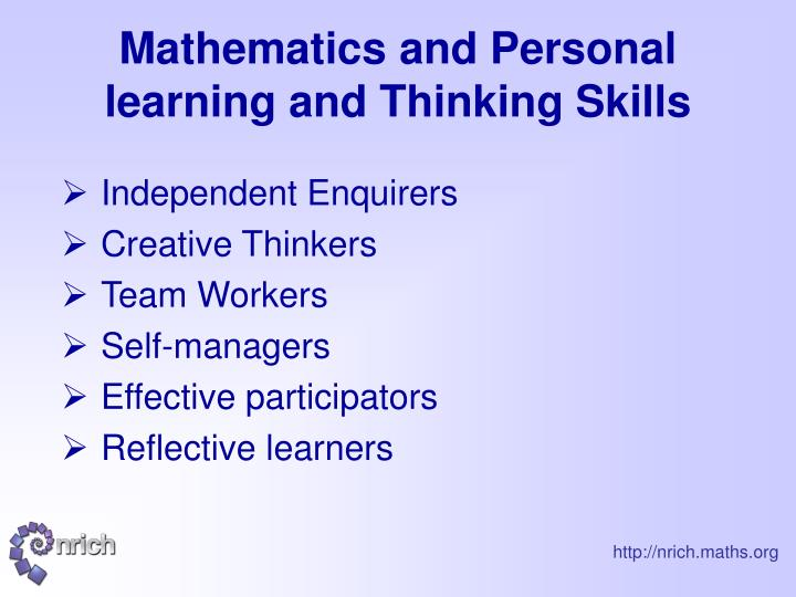 Mathematics and personal learning and thinking skills