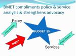 bmet compliments policy service analysis strengthens advocacy